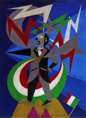 Fortunato Depero, Marinetti temporale patriottico - ritratto psicologico, 1924