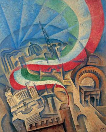 Spirale tricolore su Roma