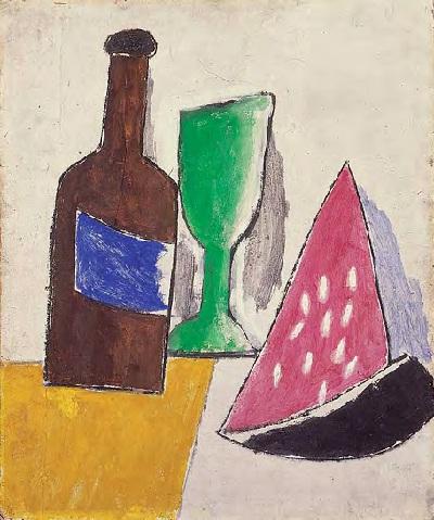 Cocomero, bicchiere e bottiglia