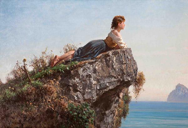 Fanciulla sulla roccia a Sorrento