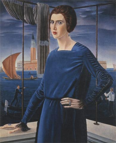 Portrait de sa femme sur fond de Venise