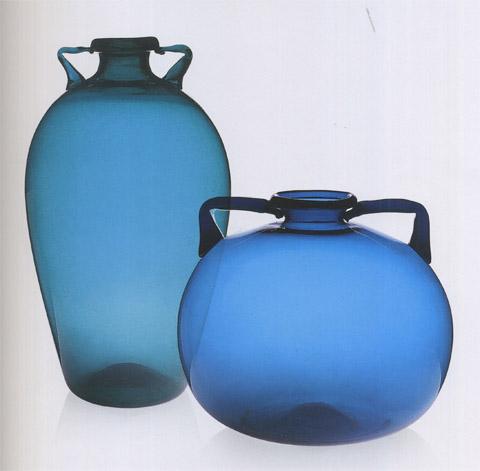Deux vases bleu azur