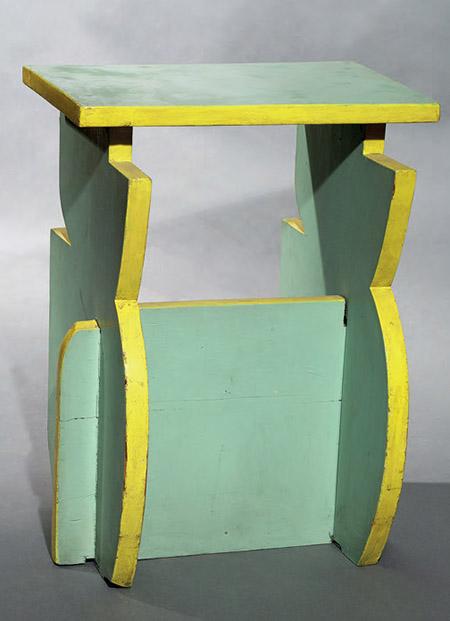 Sgabello verde chiaro e giallo