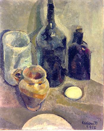 Bottiglie nere e vasetto di terracotta