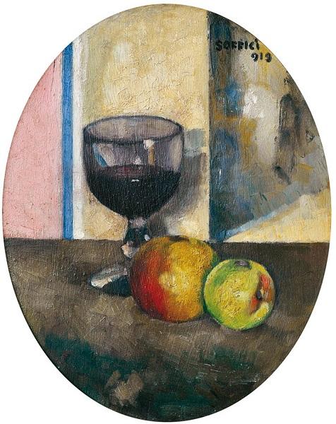 Mele e calice di vino