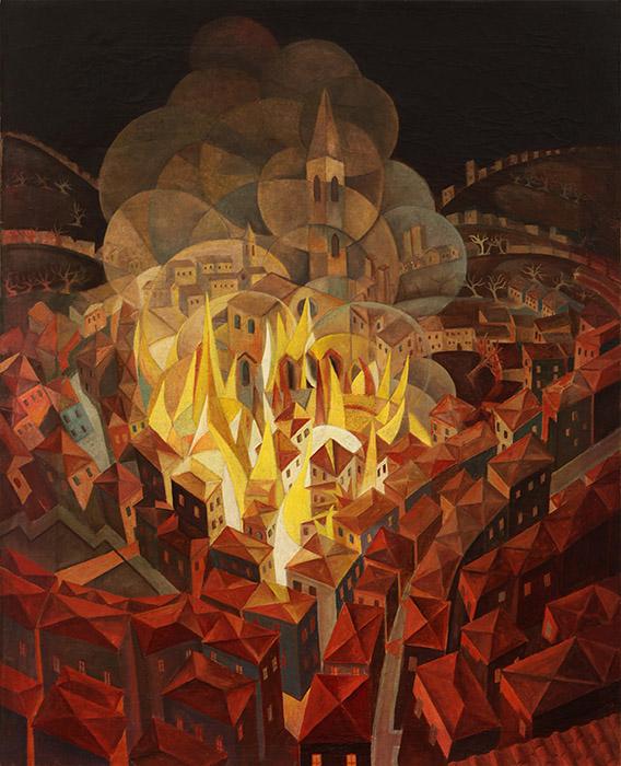 Incendio nella citta