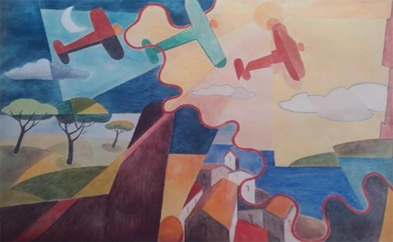 Paesaggio simultaneo + aerei Caproni
