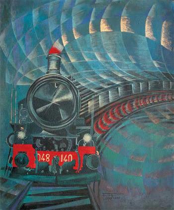 Risultati immagini per treno nella pittura futurista