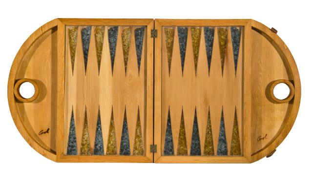 Grande scatola in legno di pino per il gioco del Backgammon